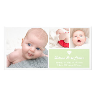 Heart Green Birth Announcement Photo Card