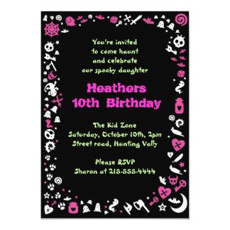 Heart Halloween Happy Birthday Party Invitation