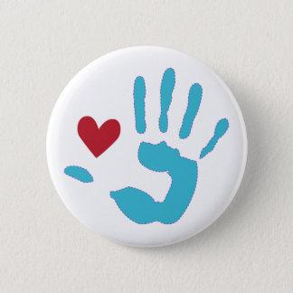 Heart & Hand 6 Cm Round Badge