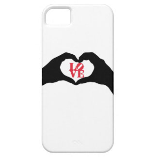 Heart hand gesture and LOVE graphic word in red iPhone 5/5S Cases
