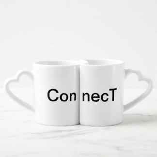 Heart Handle Connecting Coffee Mugs Cups Pair Two