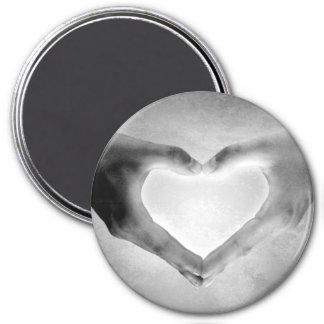 Heart Hands B&W Photo 7.5 Cm Round Magnet