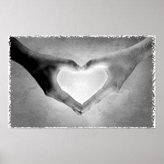 Heart Hands B W Photo Print