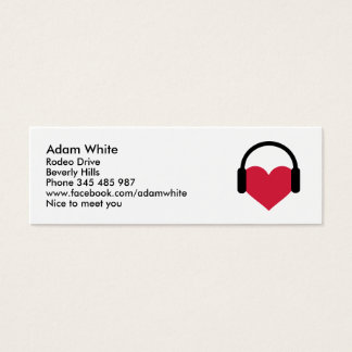 Heart headphones mini business card