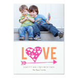 Heart Heart A7 Valentines Day Photo Card - PINK 13cm X 18cm Invitation Card
