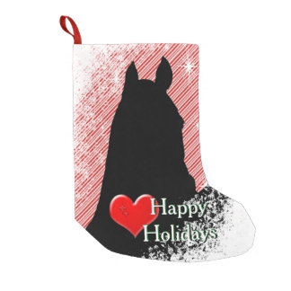 Heart Horses I Holiday (Candy Cane Bkgrd) Small Christmas Stocking