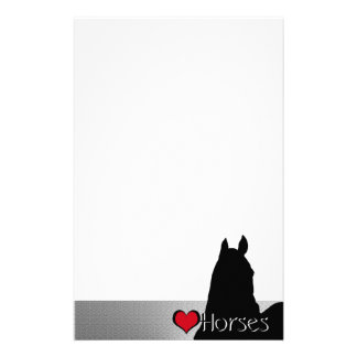 Heart Horses I Red Heart (silver metallic) Stationery Paper