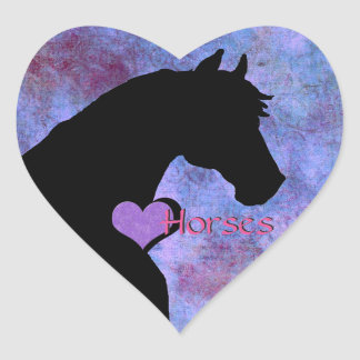 Heart Horses II (purple/blue) Heart Sticker