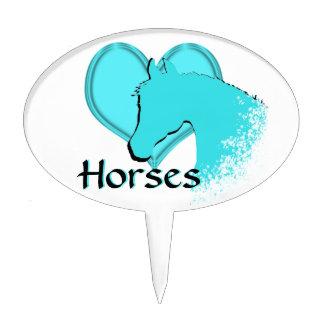 Heart Horses III (aqua) Cake Picks