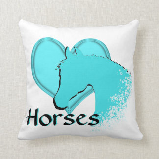 Heart Horses III (aqua) Throw Pillow