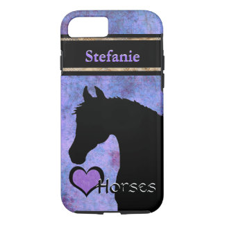 Heart Horses III Customisable (purple/blue) iPhone 8/7 Case