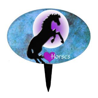 Heart Horses V (blue/green) Cake Picks