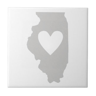 Heart Illinois state silhouette Small Square Tile