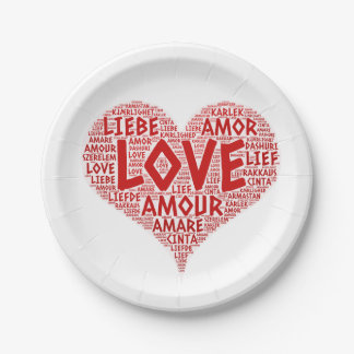 Heart illustrated with Love Word Paper Plate