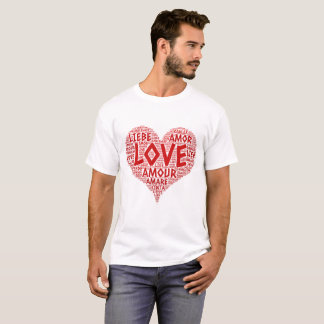 Heart illustrated with Love Word T-Shirt