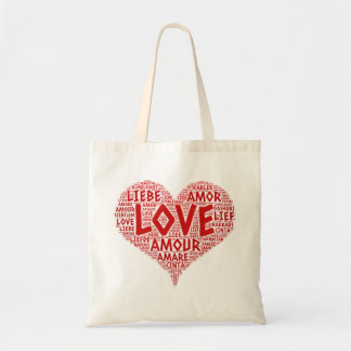 Heart illustrated with Love Word Tote Bag