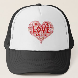 Heart illustrated with Love Word Trucker Hat