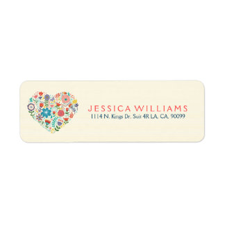 Heart Illustration With Colorful Assorted Flowers Return Address Label