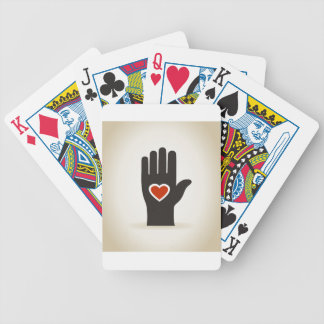 Heart in a hand bicycle playing cards
