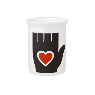 Heart in a hand drink pitchers