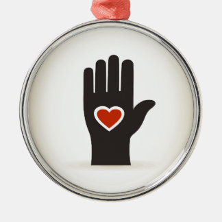 Heart in a hand Silver-Colored round decoration