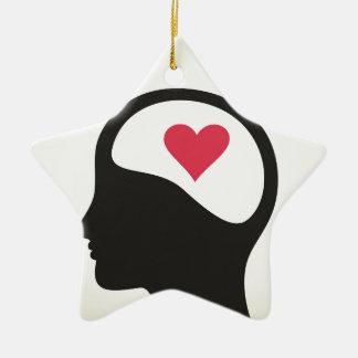Heart in a head ceramic ornament
