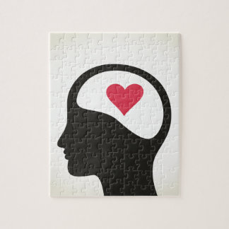 Heart in a head jigsaw puzzle