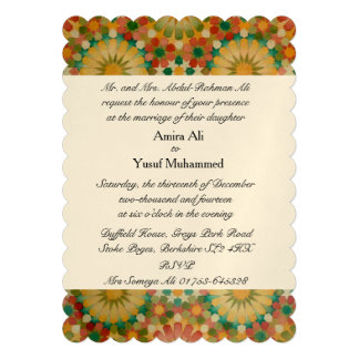 Heart in Bloom Islamic geometric wedding invite