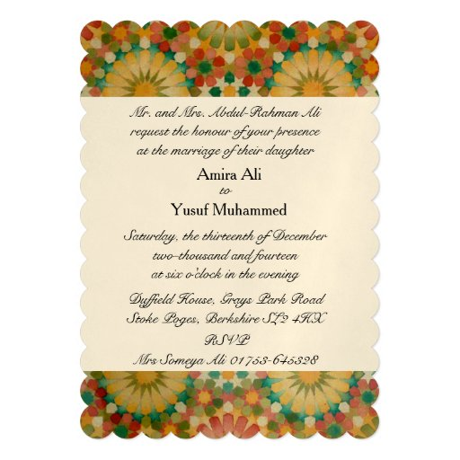 'Heart in Bloom' Islamic geometric wedding invite