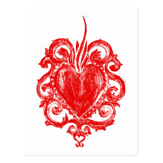 Heart in flames postcard