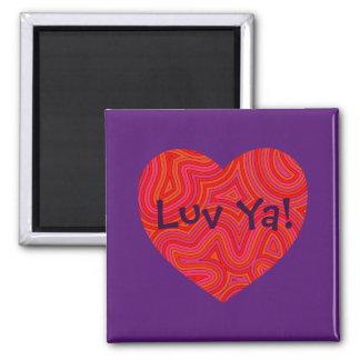 Heart in Groovy Swirls Magnet with 'Luv Ya!'