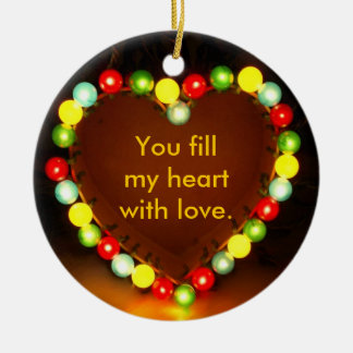 Heart in Lights Round Ceramic Decoration