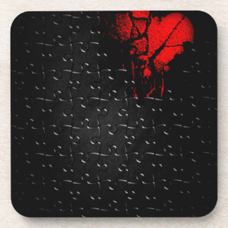 Heart İn Lost Puzzle Beverage Coaster