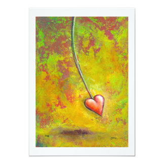 """Heart in Motion - fun contemporary painting art 5"""" X 7"""" Invitation Card"""