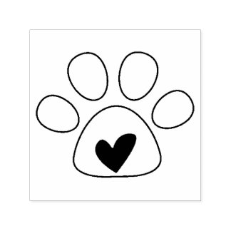 Heart in Paw Dog Love Stamp