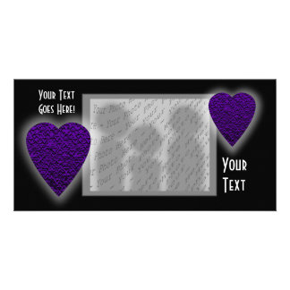 Heart in Purple Colors. Patterned Heart Design. Personalised Photo Card