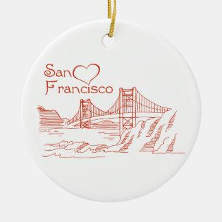 Heart In San Francisco Ceramic Ornament