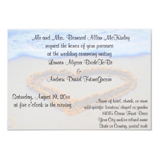 Heart in Sand Beach Wedding Reception Card