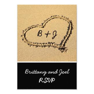 Heart in Sand Beach Wedding RSVP | Initials 9 Cm X 13 Cm Invitation Card