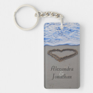Heart in Sand Romantic Single-Sided Rectangular Acrylic Key Ring