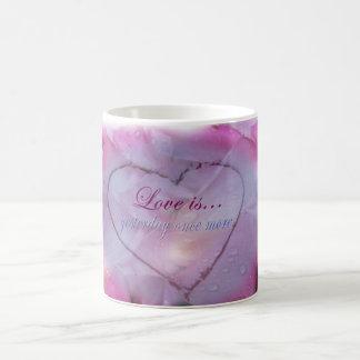 Heart in Snow and Rose Petals Mug