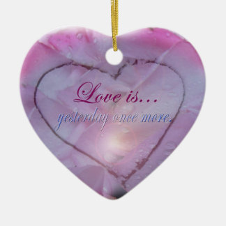 Heart in Snow and Rose Petals Ornament