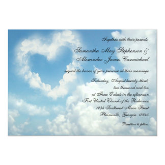 "Heart in the Clouds, Blue Sky Romantic Invitation 5"" X 7"" Invitation Card"