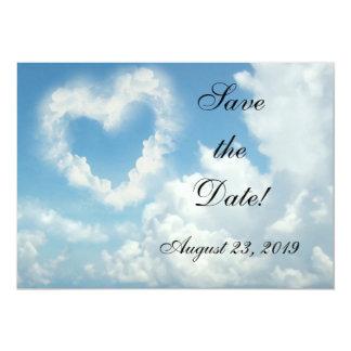"Heart in the Clouds, Blue Sky Romantic Love 5"" X 7"" Invitation Card"