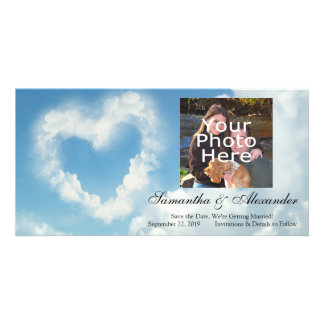 Heart in the Clouds, Blue Sky Romantic Love Customized Photo Card