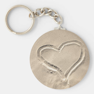 Heart In The Sand Basic Round Button Key Ring