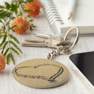 Heart in the Sand Key Ring Basic Round Button Key Ring
