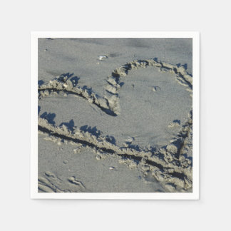 Heart In The Sand Paper Serviettes