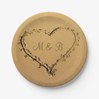 Heart in the Sand Personalized Monograms Wedding Paper Plate