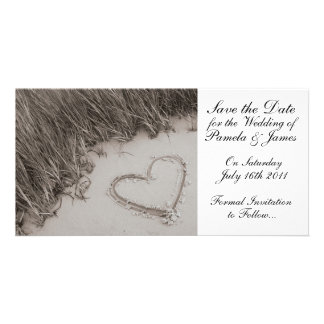 Heart in the Sand Save the Date Personalised Photo Card